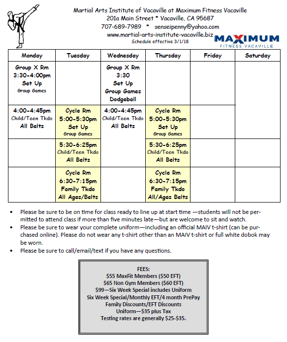 Class Schedule | Martial Arts Institute of Vacaville